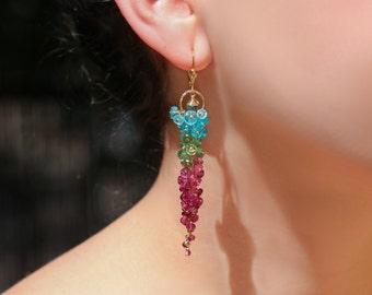 Watermelon Tourmaline Earrings Pink Tourmaline Earrings Long Gemstone Earrings Long Cluster Earrings Statement Earrings Cascade Earrings 14K