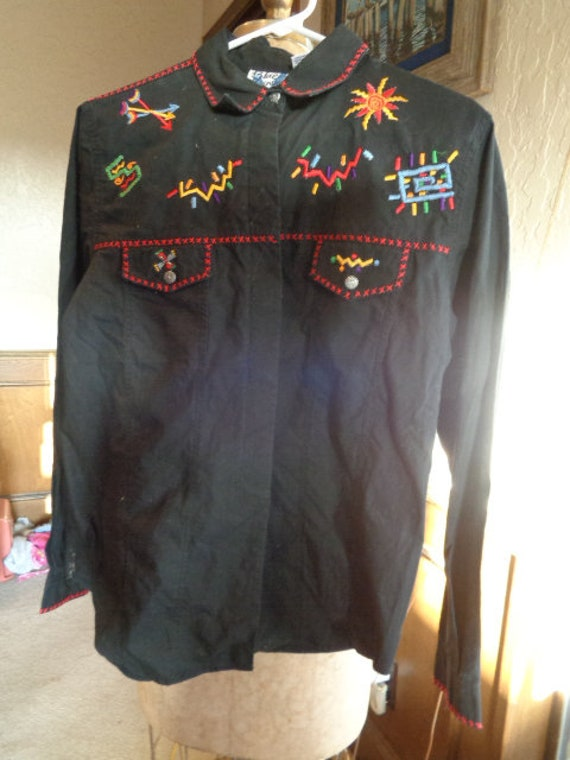 vintage 80s blue canyon embroidered western shirt
