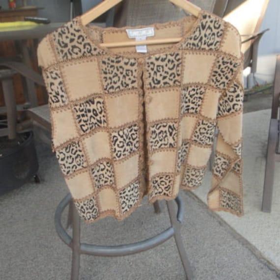 Leather Suede Patchwork Animal Print Jacket,vintag