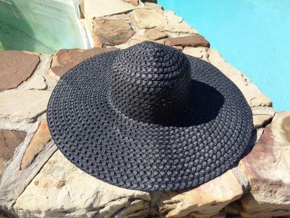Womens  summer floppy hat 1980s Kentucky Derby Wid