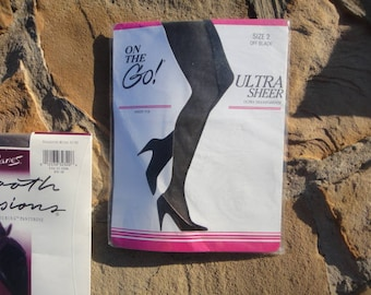 On the Go sheer toe Ultra sheer pantyhose Off Black  Size 2 unused NIP vintage NOS ,  pantyhose ,