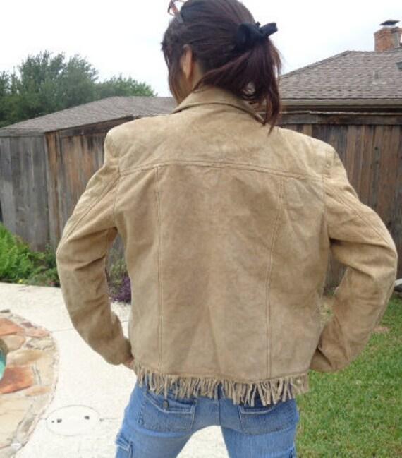 Vintage Jou Jou fringe suede  leather jacket 90s