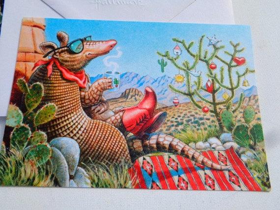 Hallmark Christmas Cards.Vintage Hallmark Christmas Cards Armadillo Cowboy Christmas Cards 19 Unused