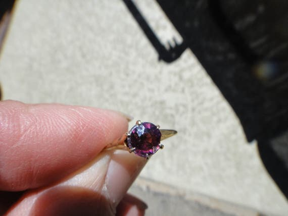 antique 14kt gold amethyst ?  ring  size 5 1/2 - image 2