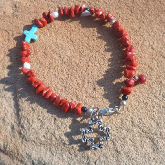Red coral nuggets Cross Moon Beaded Anklet, Silver