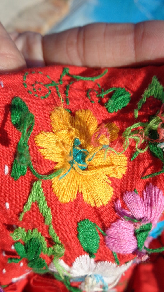 Vintage 70s Mexican Oaxaca Embroidered Dress /Stu… - image 8
