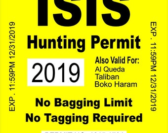ISIS Terrorist Alabama State Hunting Permit Sticker Decal Vinyl AL