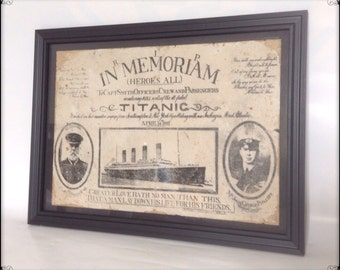 Titanic disaster aged reproduction Victorian print in frame.