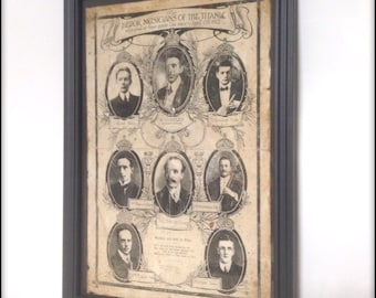 Musicians of the Titanic aged reproduction Victorian print in frame.