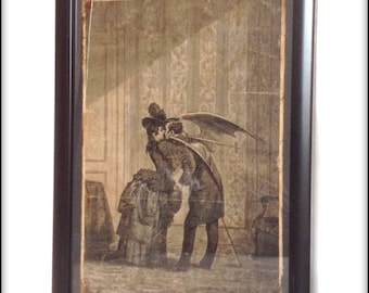 Aged reproduction Victorian vampire kiss illustration in frame.
