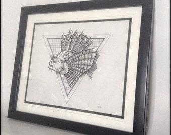 Clockwork Fish framed Original Drawing.