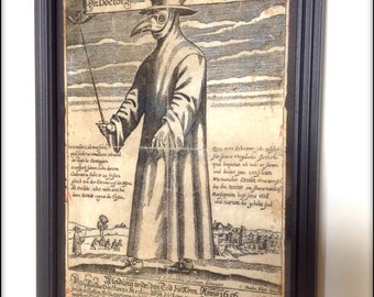 Plague Doctor #1 aged reproduction print in frame.