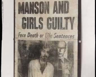 Charles Manson Guilty newspaper front page Aged Reproduction  in frame.