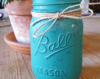 Teal Blue Painted, Mercury-like Mason Jar 16 oz and 8 oz and 4 oz Candles