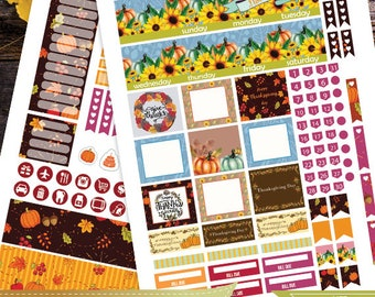 November Monthly Planner stickers for use with Erin Condren LifePlanner,Thanksgiving Planner Stickers Instant Download,Fall Planner Stickers