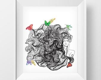 Curly Hair Wall Art, Wall Art Printable, Poster Download, Wall Art Decor, Digital Download Art, Home Decor Wall Art, INSTANT DOWNLOAD