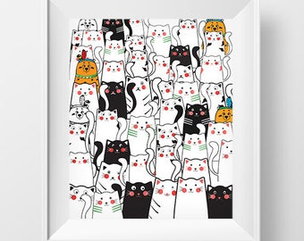 Cats and Bears,Cats and Bears Printable, Room Decor, Wall Art Printable, Nursery Wall Art, Cats Wall Art, Room Wall Art, Bears Art Print