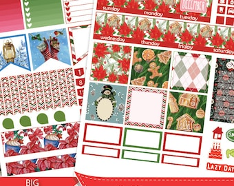 DECEMBER Big HP Planner Stickers, Big HP Winter December Monthly Planner Stickers,Christmas Planner Silhouette and Cricut Cut Files,Snowman