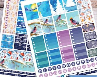 Winter, birds, Snow, Printable Planner Stickers, Weekly Kit for use with Erin Condren LifePlanner, Filofax, Plum Paper, Scrapbooking