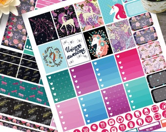 Unicorn Weekly, Digital Printable Planner Stickers Weekly Stickers for use with Erin Condren LifePlanner, Filofax, Plum Paper, Scrapbooking