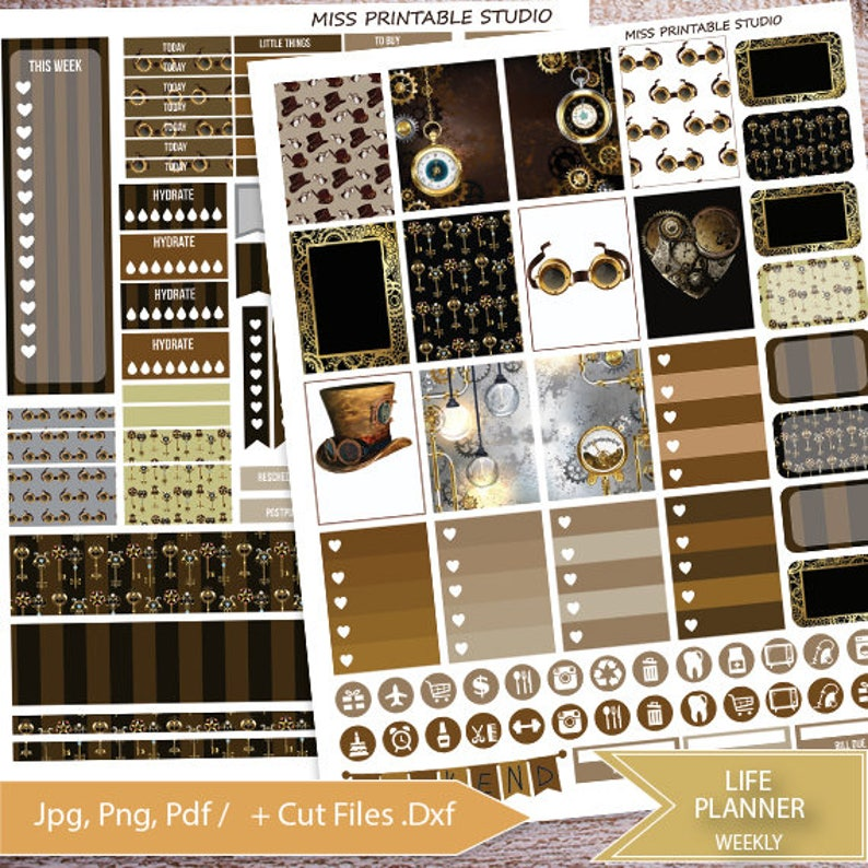 Steampunk Printable Planner StickersSteampunk Weekly Kit for image 0