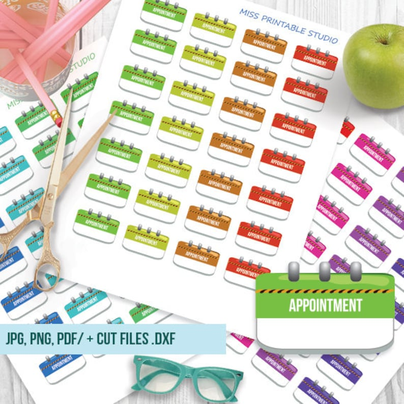 Appointment Printable Planner Stickers Appointment Functional image 0