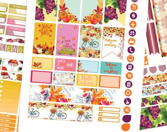 Fall Planner Stickers Printable, Autumn Planner Stickers HAPPY PLANNER STICKERS Weekly Kit,September Happy planner Kit, Instant download