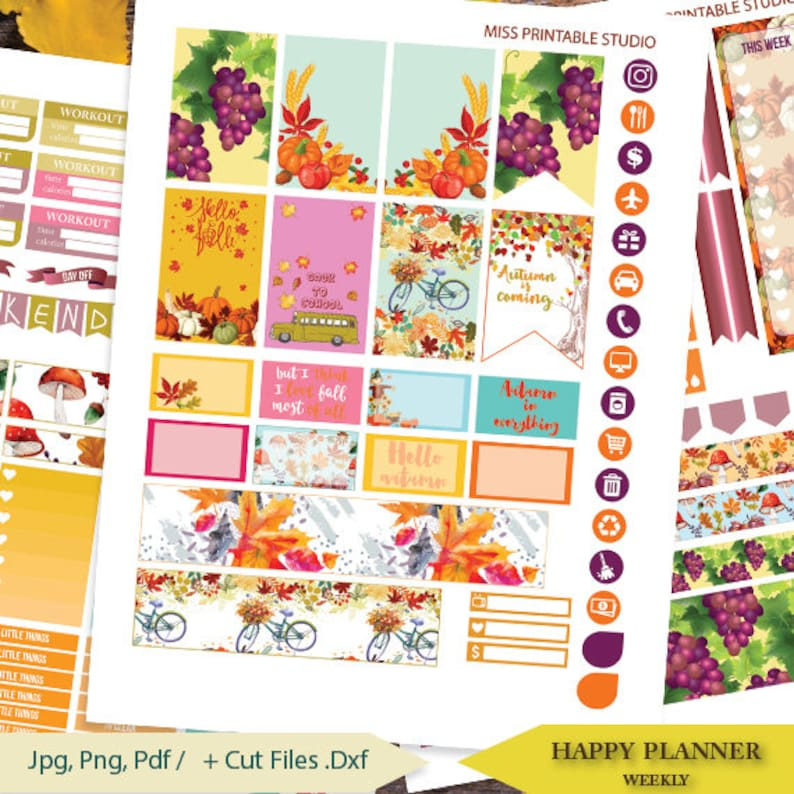 photo about Happy Planner Stickers Printable referred to as Tumble Planner Stickers Printable, Autumn Planner Stickers Delighted PLANNER STICKERS Weekly Package,September Delighted planner Package, Immediate down load
