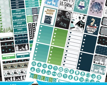 Winter January Printable Planner Stickers,New Year Planner 2020 Kit for use with Erin Condren LifePlanner, Filofax, Plum Paper, Scrapbooking