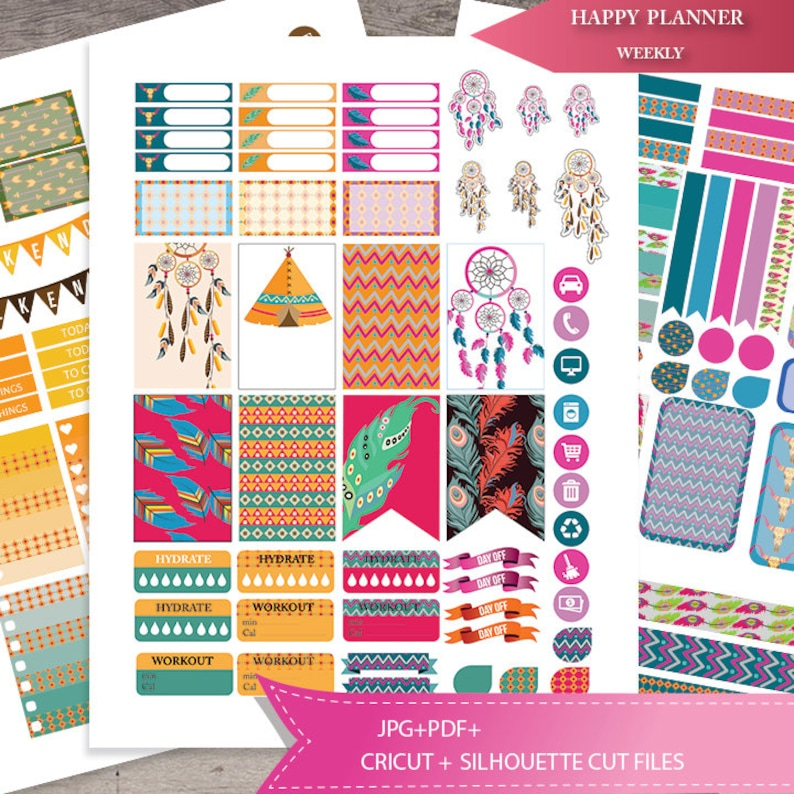 picture relating to Happy Planner Stickers Printable referred to as Boho Planner Stickers Printable, Satisfied PLANNER Sticker, Weekly Watch Package Tribal planner stickers,Joyful Planner package, Do it yourself, Quick Down load