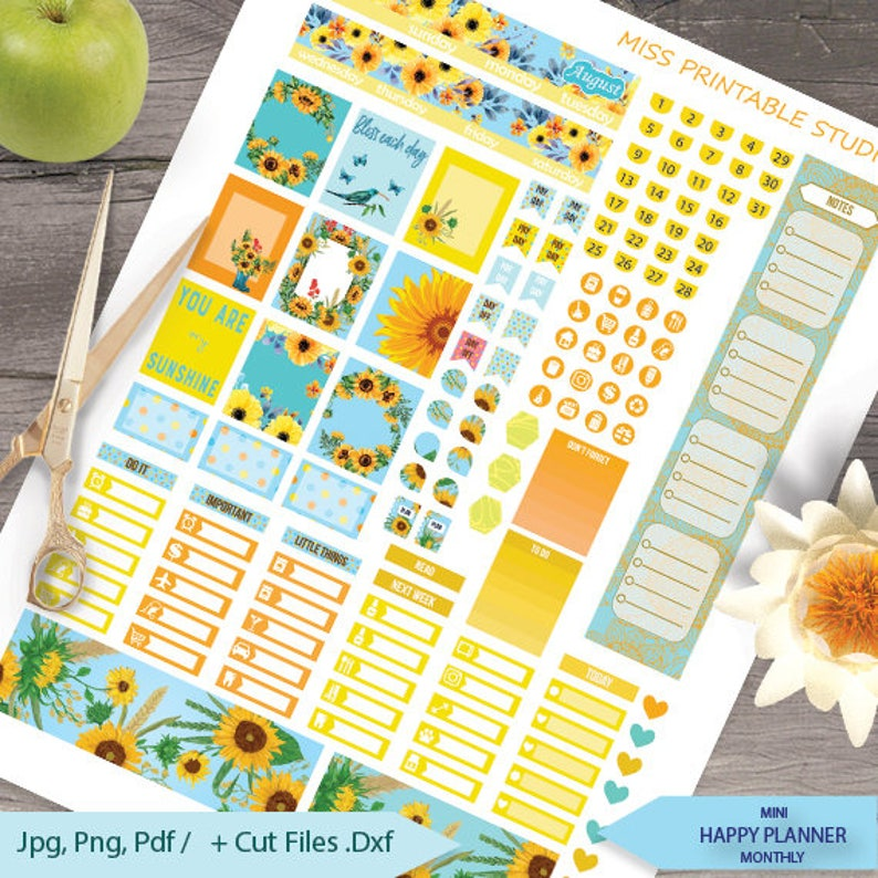 August Planner Stickers PrintableSunflowers monthly Mini image 0