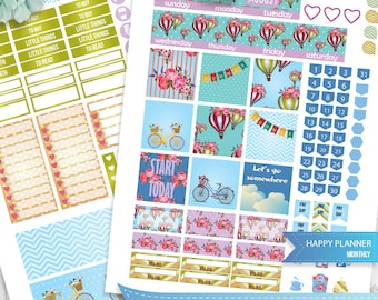August Happy Planner, August Monthly View,August HAPPY PLANNER,Hot air balloons, August Mambi Stickers,Printable Monthly Stickers, Printable