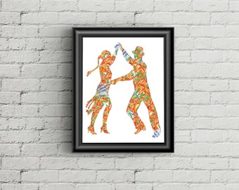 SALE 50% Valentines Day Printable Art Print, Unique Gift Idea , Home Office Wall Art Decor, Fine art wedding, Watercolor dance couple