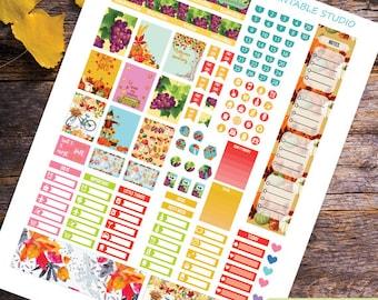 September Planner Stickers Printable,September monthly Mini Happy planner, Monthly Kit, Printable Sampler,Instant download, Fall Planner