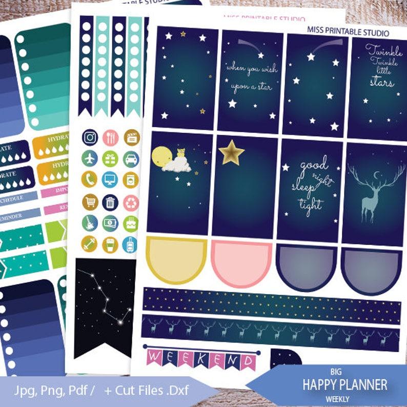Sky night Big Happy Planner Stickers PrintableSky night BIG image 0