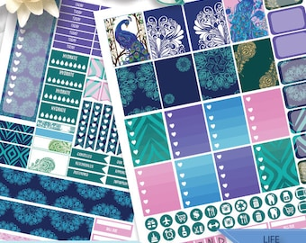Printable Peacock, Peacock Feathers Stickers for use with Erin Condren LifePlanner, Filofax, Plum Paper, Scrapbooking