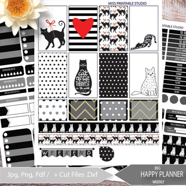 Black & White CAT Big Happy Planner Stickers PrintableBIG image 1