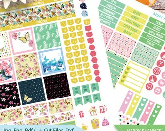 August Monthly Kit planner stickers Printable, HAPPY PLANNER STICKERS, August Monthly Kit,Printable Sampler,Butterfly planner stickers