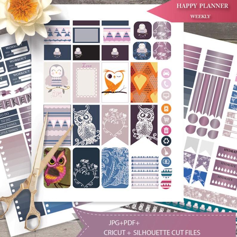 Love Owls Planner Stickers Printable Birds HAPPY image 0