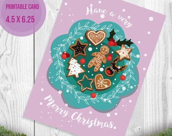 Christmas Card, Christmas flowers Card, Winter Holidays Card, Merry Christmas Card, Floral Christmas Card, Blue and red, Instant download