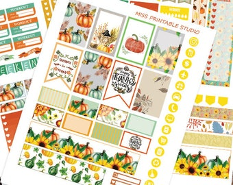 Fall Planner Stickers Printable, Autumn Planner Stickers HAPPY PLANNER STICKERS Weekly Kit,November Happy planner Kit, Instant download