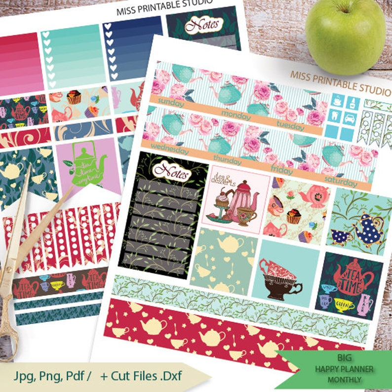 Tea Big HP Planner Stickers Big HP Tea Time Planner Stickers image 0