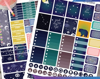 Sky night  Planner Stickers, Stars Weekly Kit for use with Erin Condren LifePlanner, Galaxy, stars, Filofax, Plum Paper, Scrapbooking