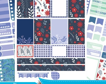 Spring BIG MAMBI Happy planner, Weekly Kit, Printable Sampler, floral printable stickers,blue and red big happy planner Instant download