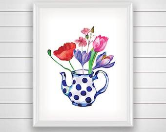 SALE 50%  Still Life Print, Vase With Flowers, Vase Wall Art, Vase Printable, Vase with Spots, Vase Home Decor, Watercolor Flower