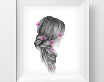 Fishbone hairstyle Wall Art, Wall Art Printable, Poster Download, Wall Art Decor, Digital Download Art,Home Decor Wall Art, INSTANT DOWNLOAD