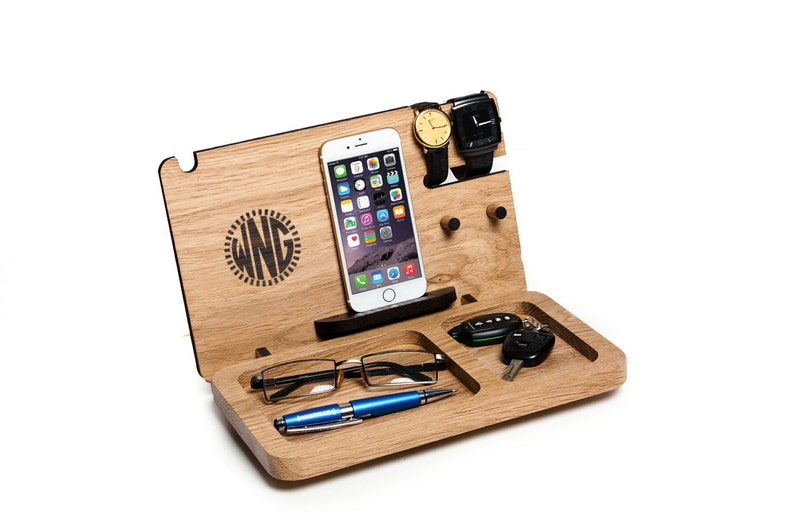 Gift for him Iphone docking station personalized Monogram image 0