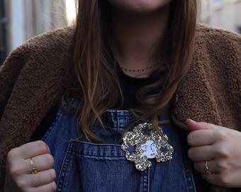 Hortense the witch - handmade brooch