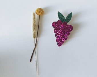 Martial the grape - handmade brooch