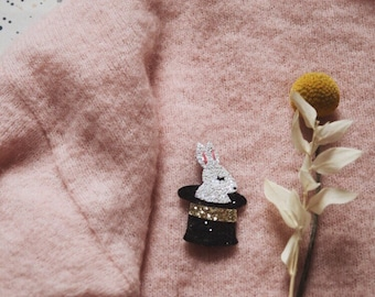Elio the magic rabbit - handmade brooch